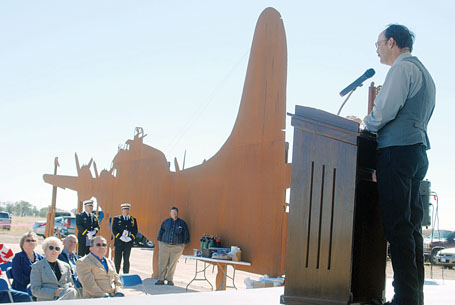 Me speaking at the dedication of the sculpture on Veteran's Day 2008