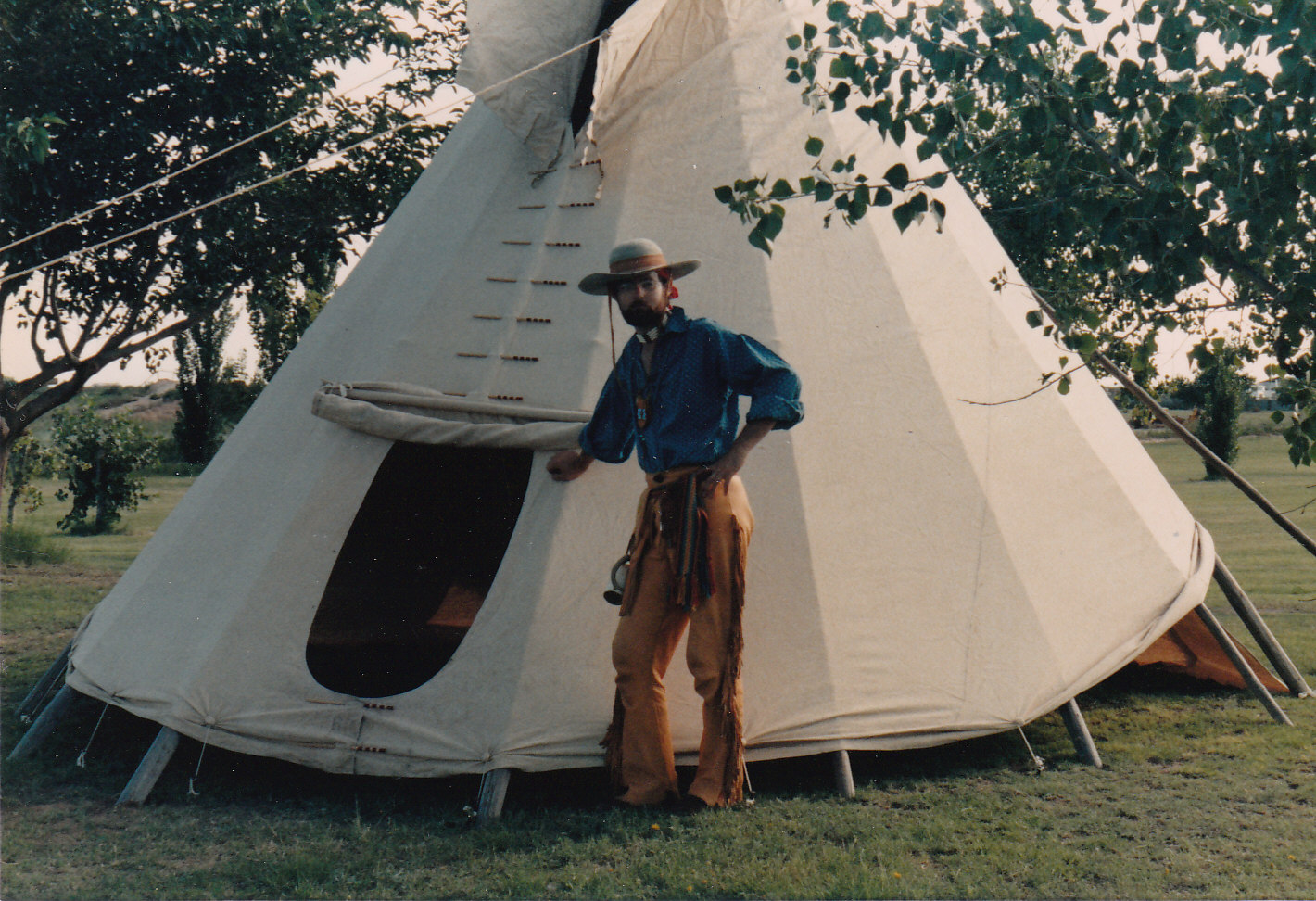 My mountain man days, standing next to my tipi at Jal Lake Park.