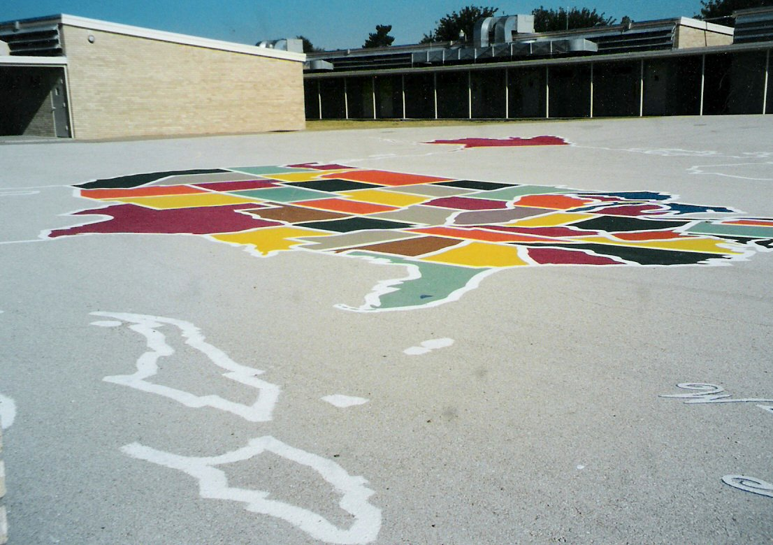 80ft. by 100ft. map of the U.S. on the Jal Elementary School playground.